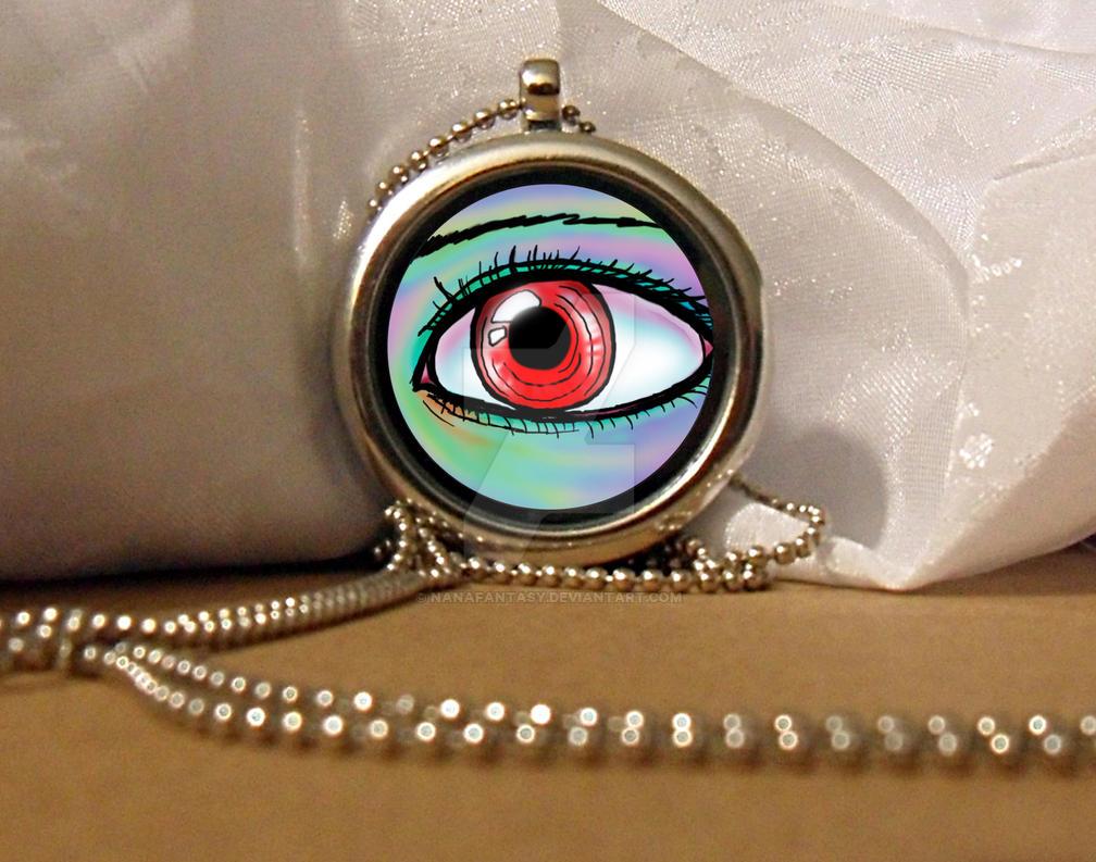 Red Fantasy Eye Locket Necklace by NanaFantasy