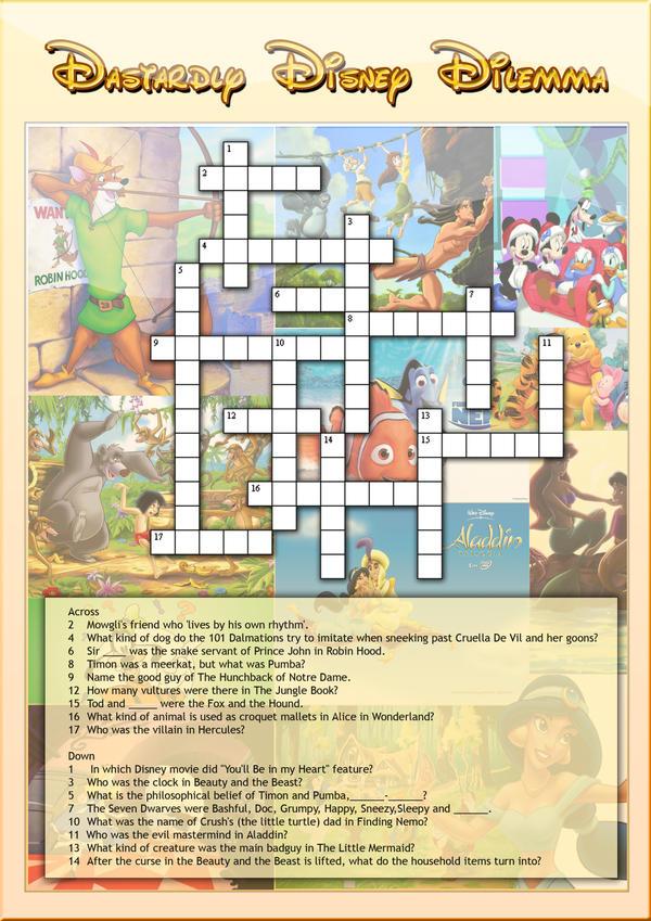 Disney Crossword Puzzles Car Interior Design