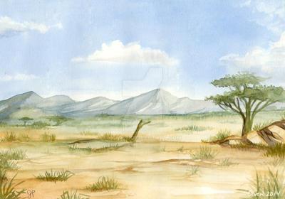Watercolor sketch: savanna by olvice