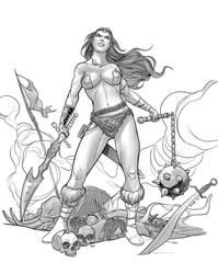 Warrior woman Lineart by Trucas