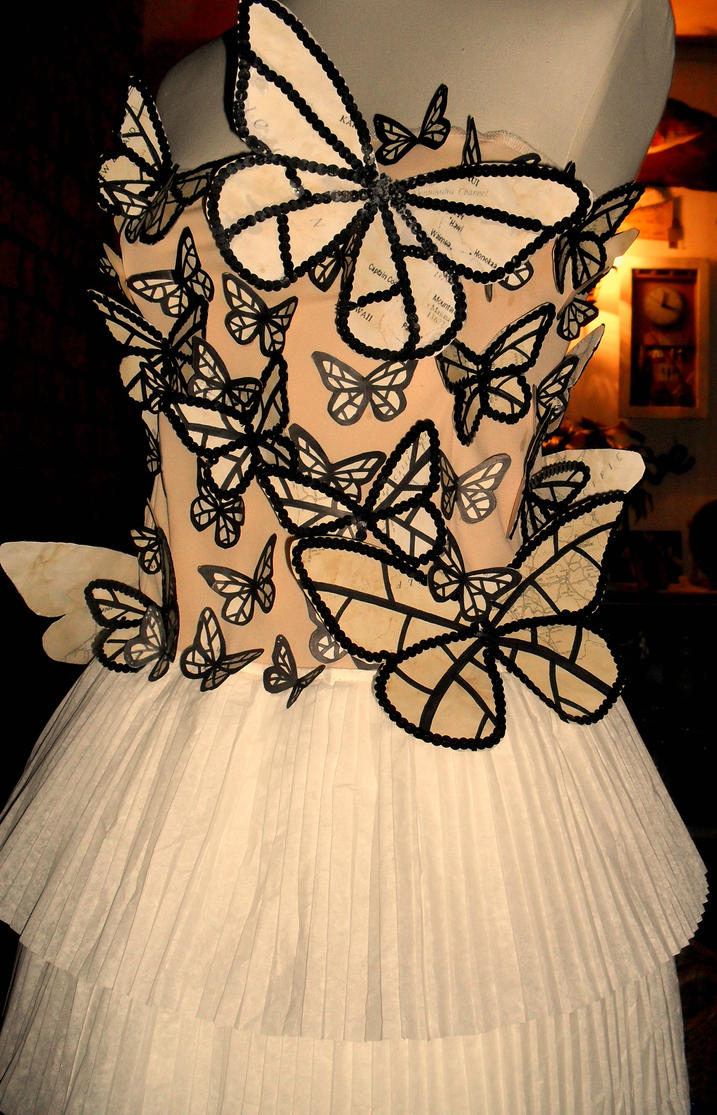 Butterfly paper dress by Samwakenz