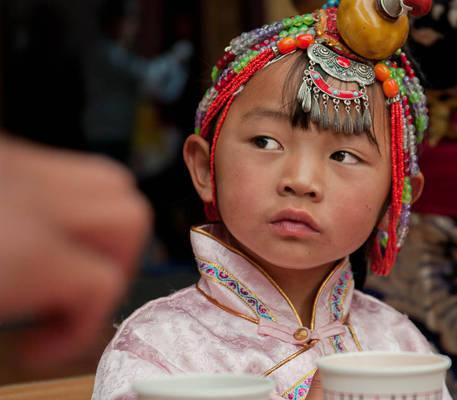 wise tibetan little girl
