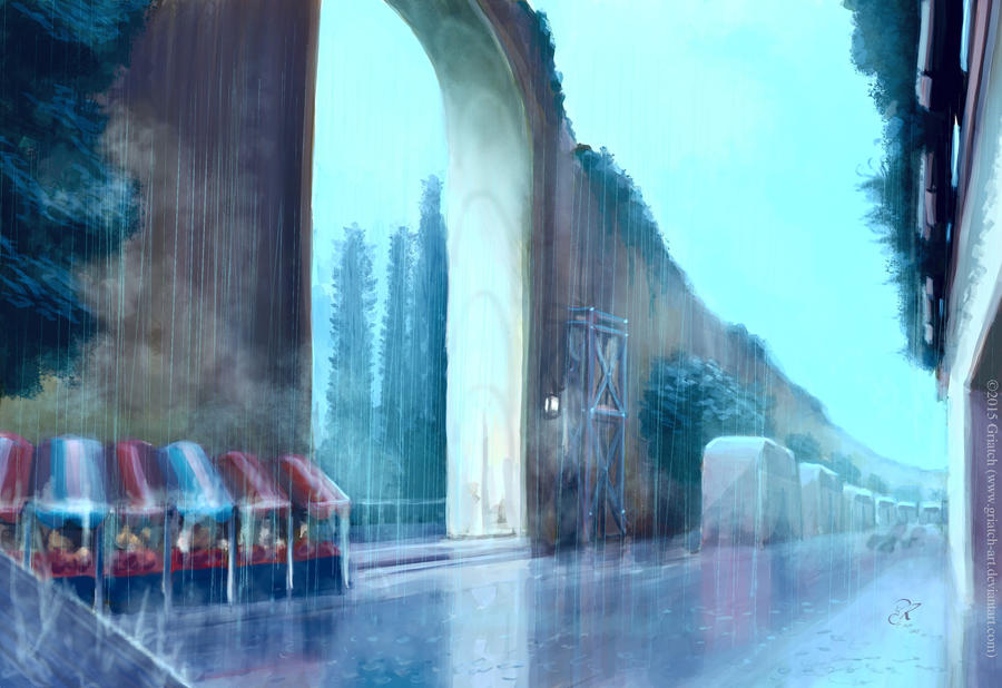 End of downpour at the Yellow gate by Griatch-art
