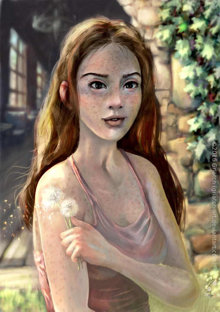 The girl with the dandelions by Griatch-art