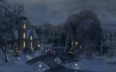 Grandfather wolf passing by - Christmas Card 2020
