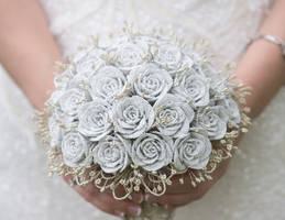 White and Gold Beaded Rose Wedding Bouquet