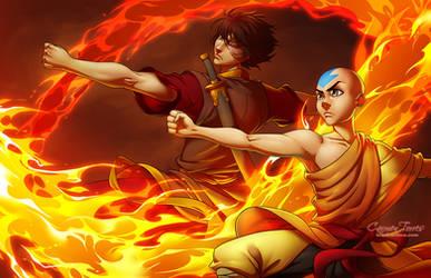 Aang and Zuko by artofcarmen
