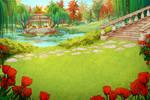 Free Background - Sunlit Garden