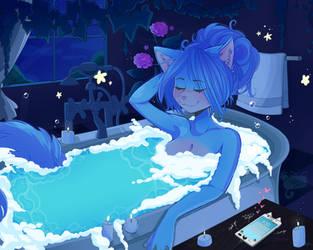 ~ Bubble bath kitty~ by HuntressCuddlez