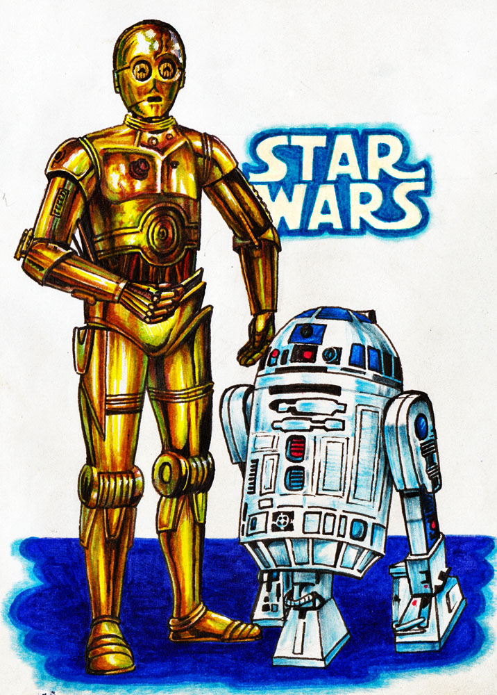 R2d2 And C3po Drawing C3P0 y R2D2 by Real-Wa...