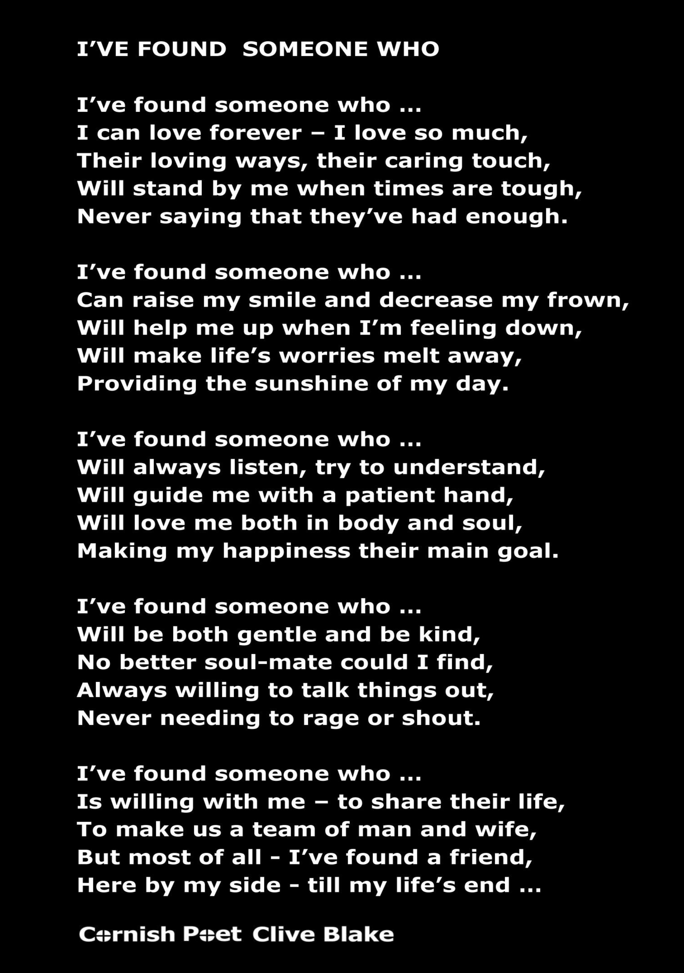 wedding poem i've found someone wedding poetry