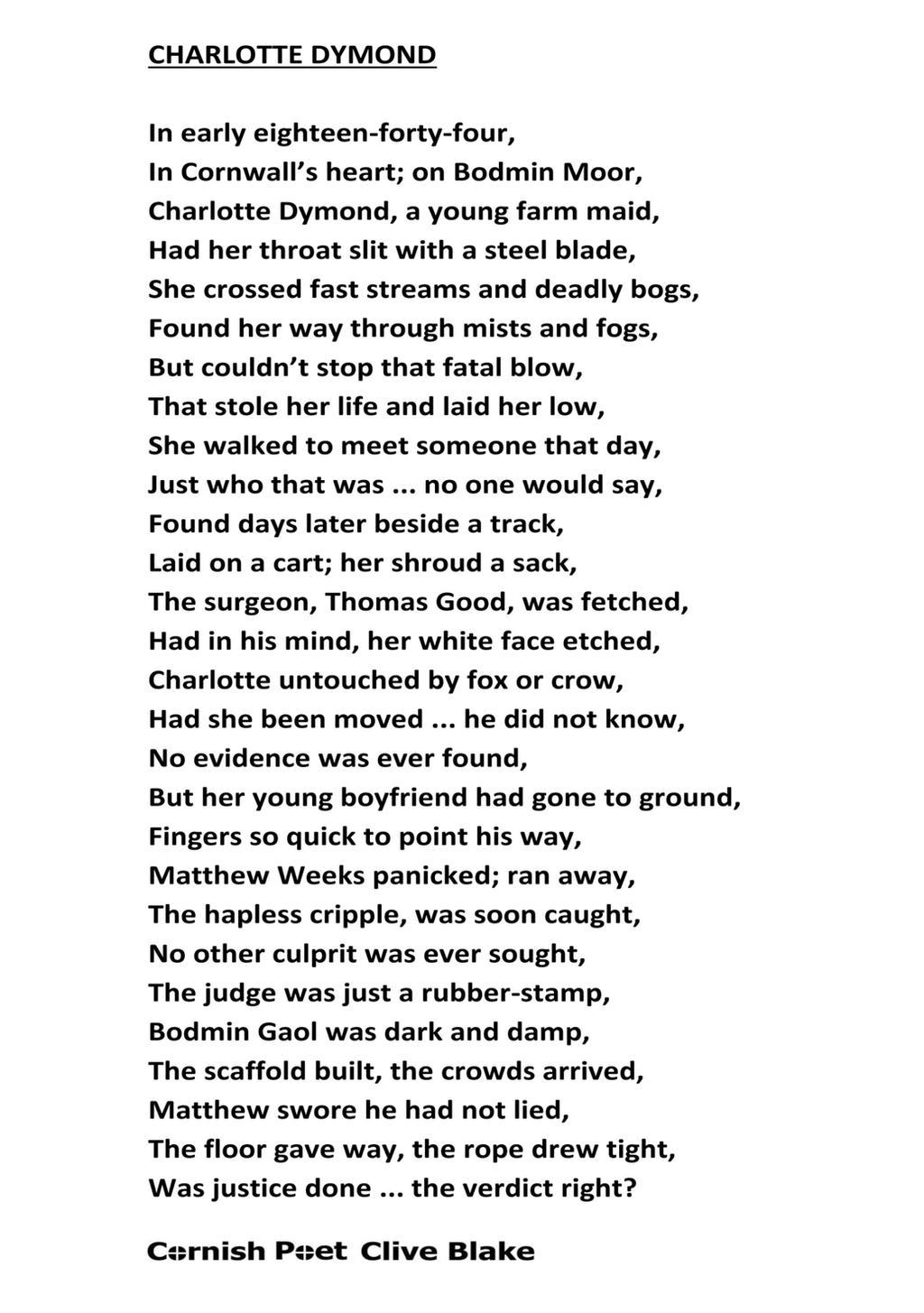 charlotte dymond wbcp cornish poem poetry by cliveblake on