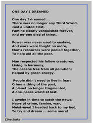 One Day I Dreamed -Poetry by Clive Blake
