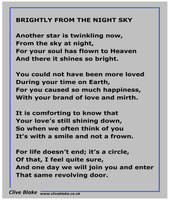 Funeral Poem -Brightly From The Night Sky -Poetry  by CliveBlake