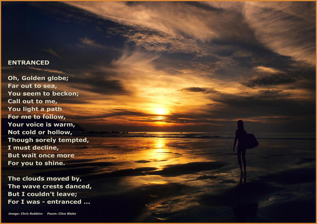Poem -Entranced + border -Poetry by Clive Blake by
