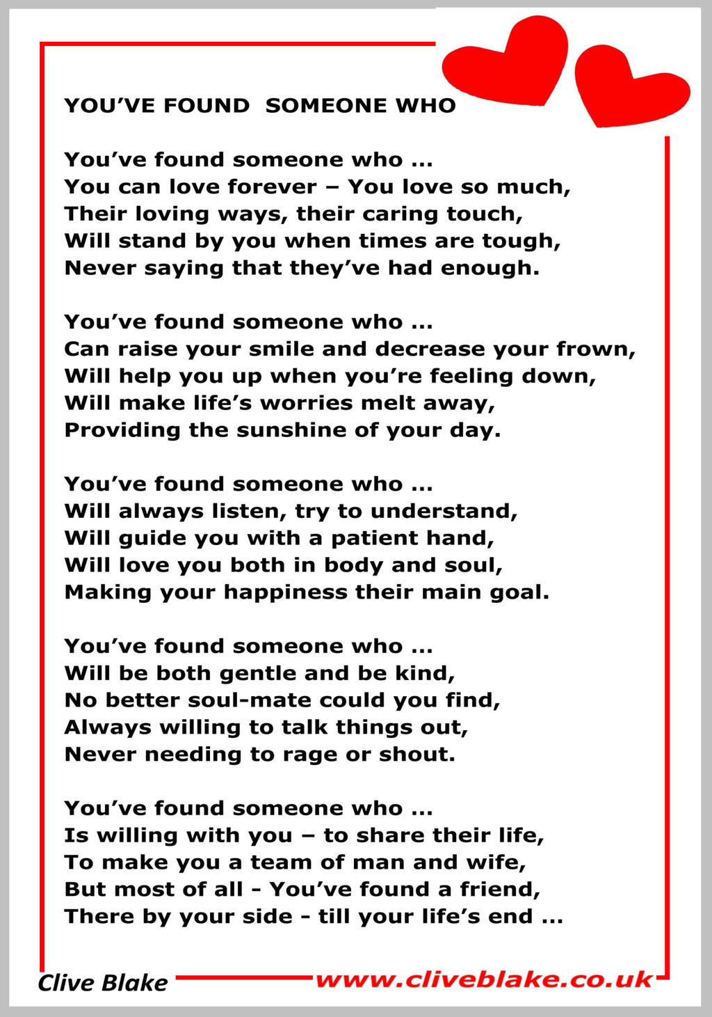Wedding Poem 20a Youve Found Someone Who Poetry By