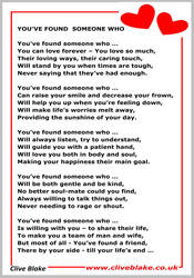 Wedding Poem 20a -You've Found Someone Who -Poetry by CliveBlake