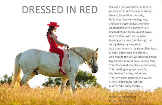 Poem -Dressed In Red +bord -Clive Blake poetry