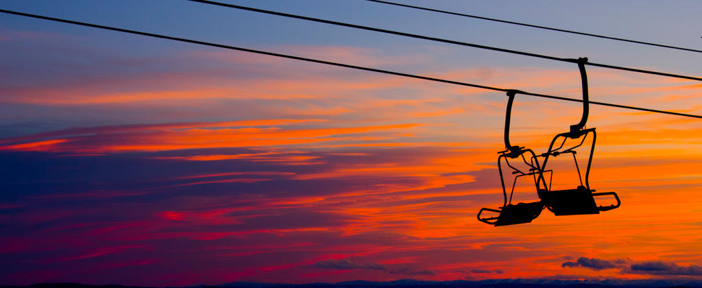 Ski lift at sunset, Norway, Hafjell by kizer29