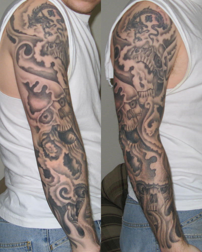 Flaming Skulls Tattoo Sleeve by JoKeR0720 on DeviantArt