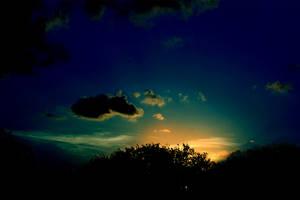 Orange, Green, Blue Sunset by SnowFox1