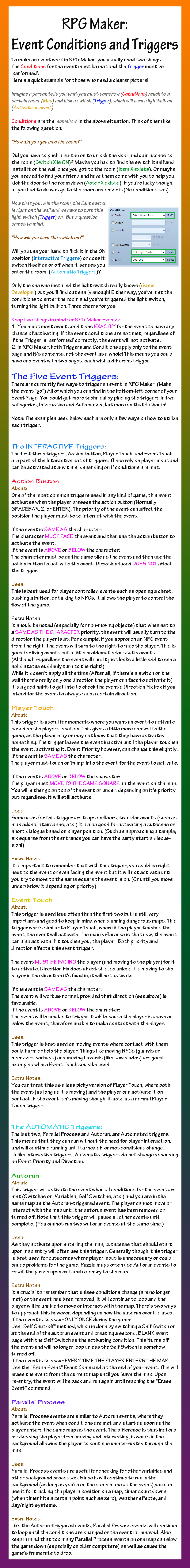 RPG Maker: Event Triggers by AvalonMelody on DeviantArt