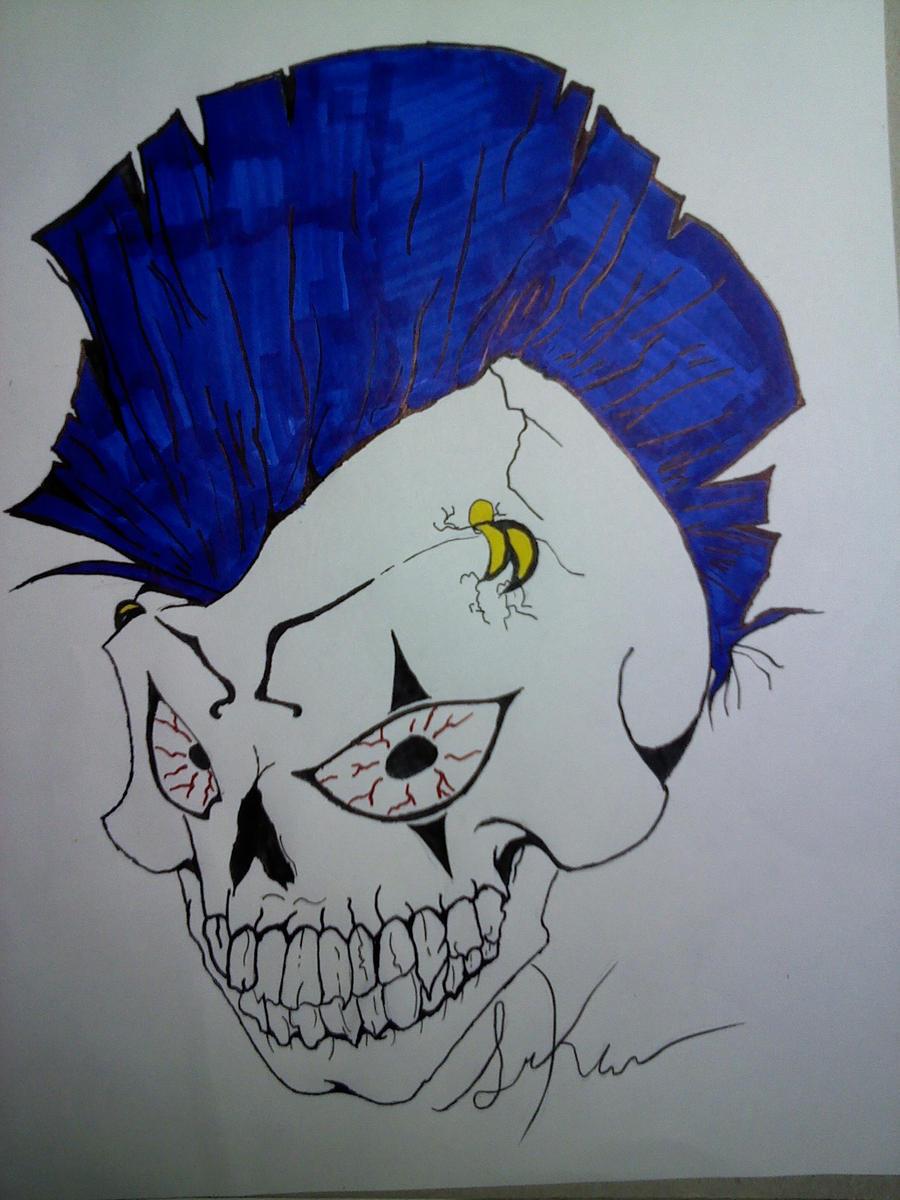 mohawk skull by Fox-Of-Unsound-Mind on DeviantArt