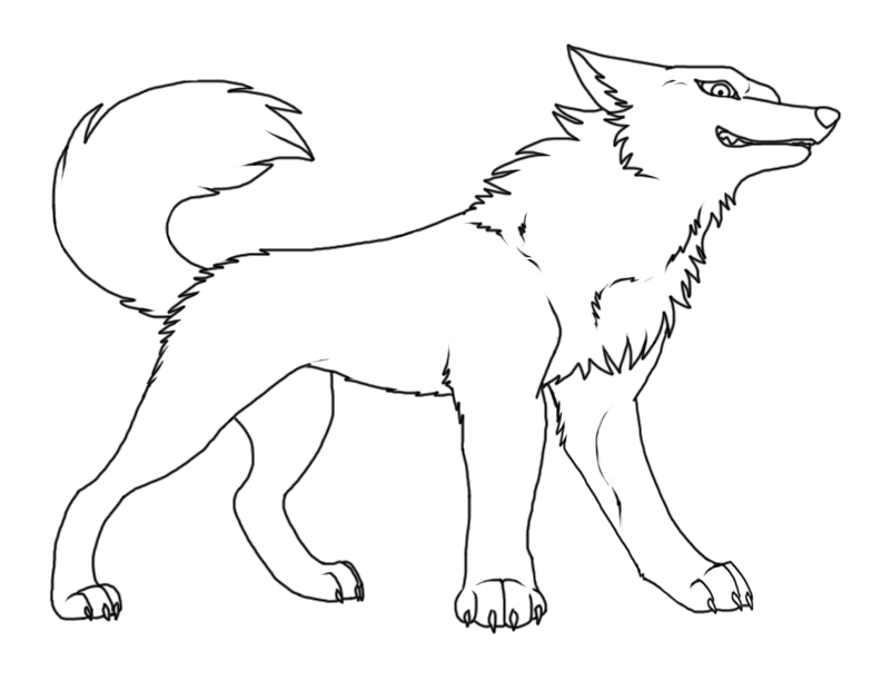 Simple Wolf Lineart : Wolf lineart by roneri on deviantart