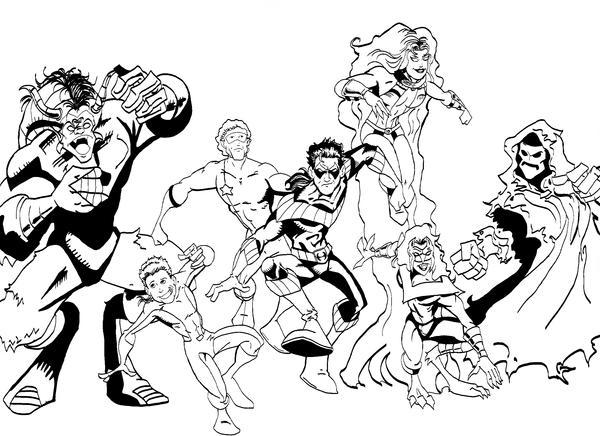 Xxl Kleurplaat Action The New Teen Titans 2 Ink By Vibog 3 On Deviantart