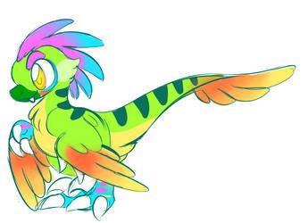 rainbow raptor by diabloceratops