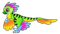 rainbow raptor pixel by diabloceratops