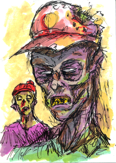 Zombie Hipsters ACEO by rawjawbone