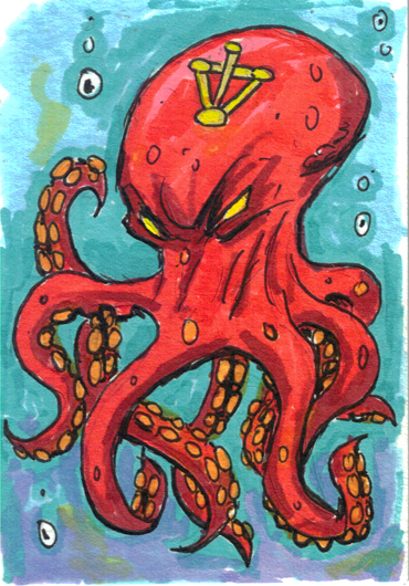 Angry Arcane Octopus ACEO by rawjawbone