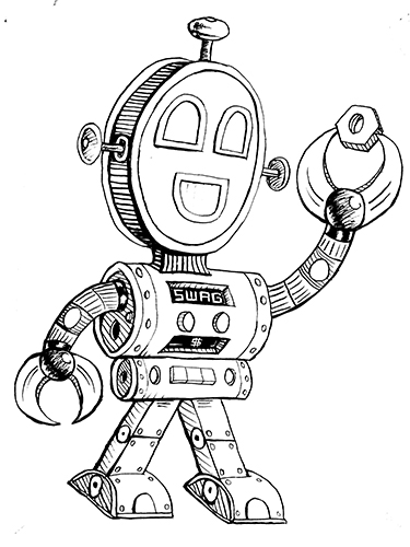 Line Art Robot : Robot shirt line art by rawjawbone on deviantart