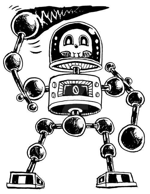 Skullbot sketch by rawjawbone