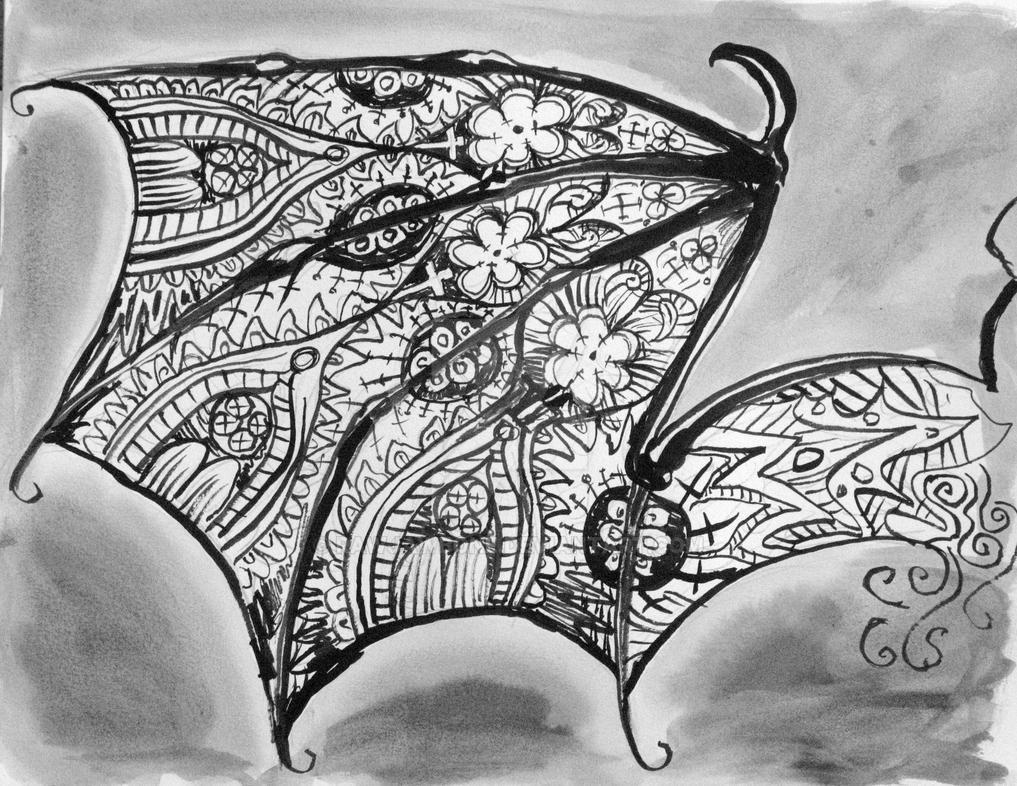 Ornate Filigree Batwing Study 2 by rawjawbone