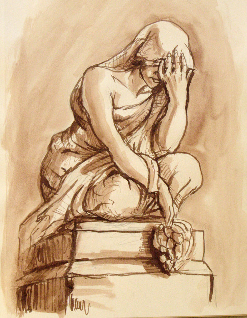 Mourning Statue Sketch by rawjawbone