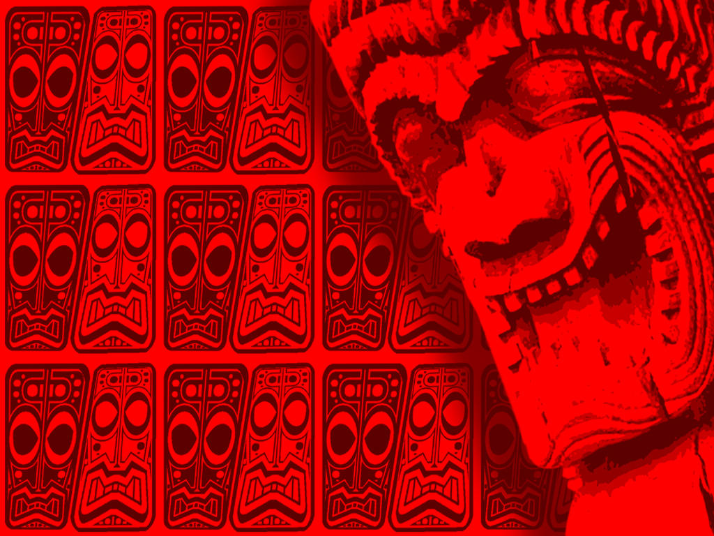 Tiki Wallpaper Red By Rawjawbone
