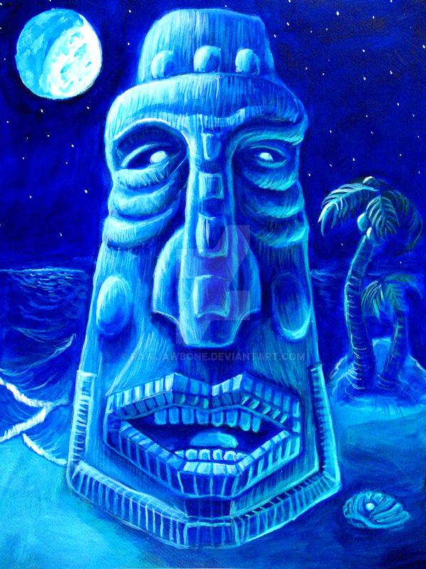 Moonlit Moai-Blockhead 1 by rawjawbone