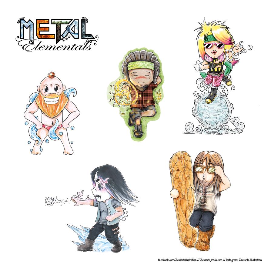 Metal Elementals Chibi Sticker Sheet by ZeusArts