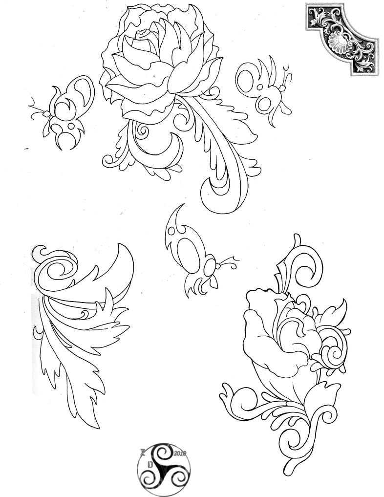 Tattoo Flash Line Drawing Converter : Tattoo line drawings by klyde chroma on deviantart