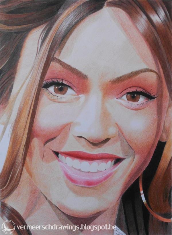 Beyonce Knowles colour portrait by Martin--Art