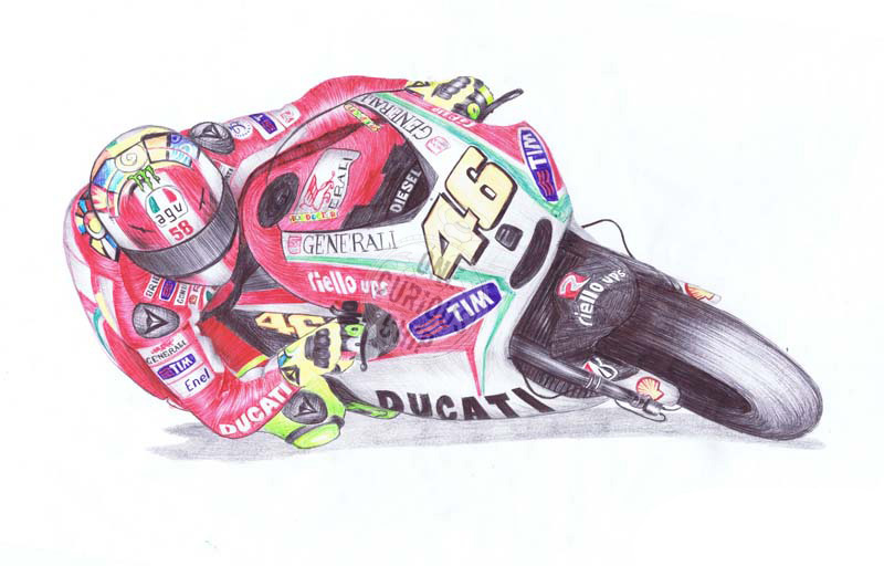 Valentino Rossi, The Doctor, 46, in Ballpoint Pen by onecuriouschip