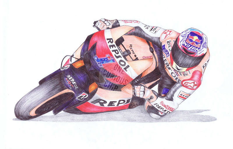 Casey Stoner, 27, Ballpoint Pen by onecuriouschip