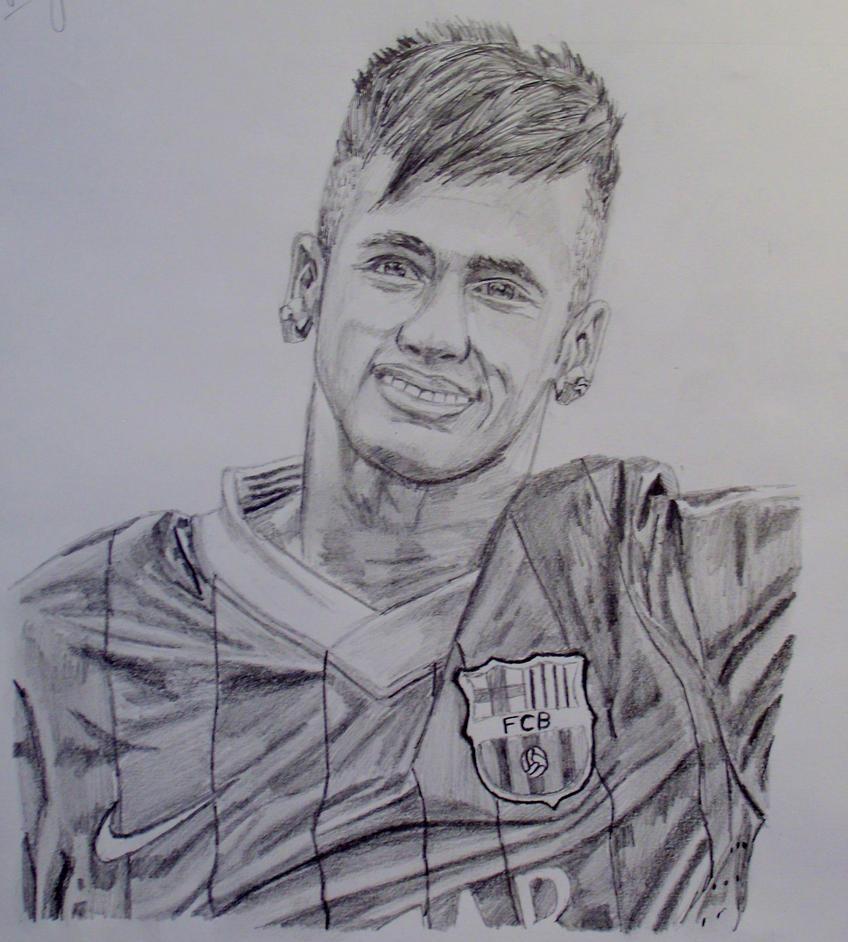 neymar fc barcelona by neymar pencil drawing