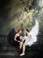 Angel black  white by CrisSolimann