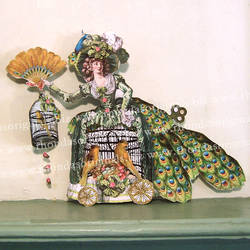 French Peacock Lady Paper Doll