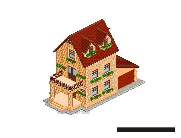 Pixel Art. Isometric. House 1