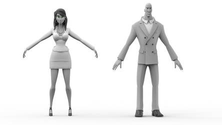 Male and Female. Cartoon characters. wip