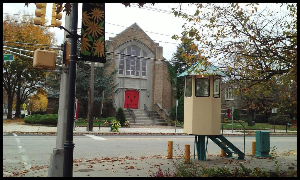 Old church and Traffic Control Stand by morningstarskid